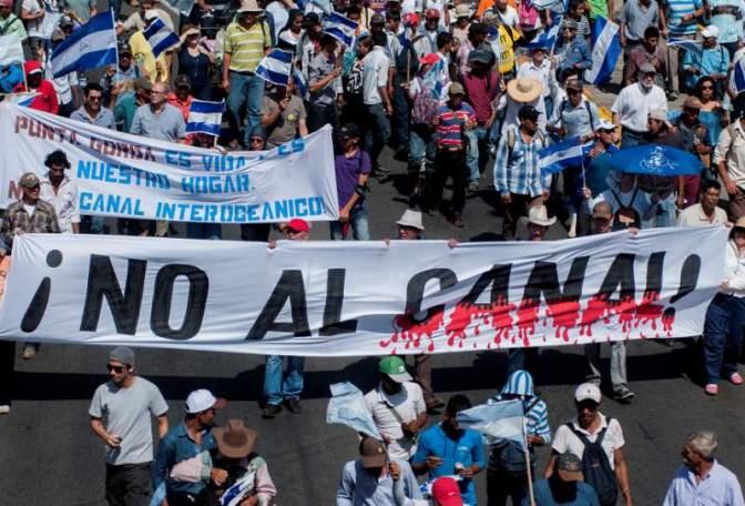 Campesinos, en crisis, marchan contra el proyecto del canal en Nicaragua